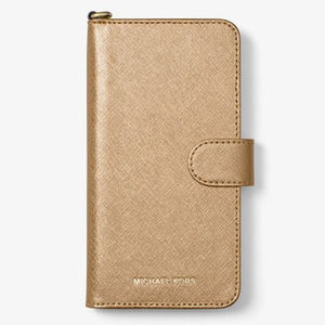 Michael Kors Gold Leather Folio Case iPhone7/8